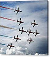 Red Arrows In Typhoon Formation Canvas Print