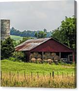 Red Barn And Bales Of Hay Canvas Print