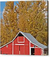 Red Barn And Fall Colors Canvas Print