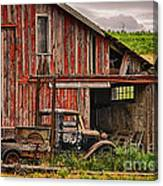 Red Barn And Truck In The Palouse Canvas Print