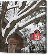 Red Barn Birdhouse On Tree In Winter Canvas Print