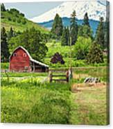 Red Barn Green Farmland White Mountain Canvas Print