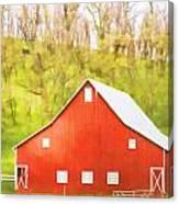 Red Barn Green Hillside Canvas Print