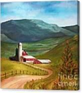 Red Barn Hillside Farm Canvas Print