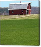 Red Barn In Greener Pastures Canvas Print