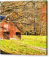 Red Barn In Late Fall Canvas Print