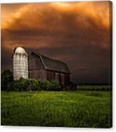Red Barn Stormy Sky - Rustic Dreams Canvas Print