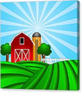 Red Barn With Grain Silo On Green Pasture Illustration Canvas Print