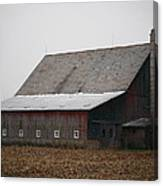 Red Barn With Medieval Silo  Canvas Print
