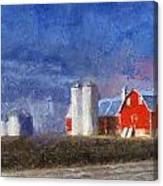 Red Barn With Silos Photo Art 02 Canvas Print