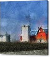 Red Barn With Silos Photo Art 03 Canvas Print