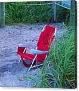 Red Beach Chair Canvas Print