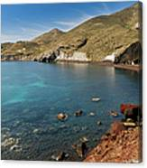 Red Beach Santorini Canvas Print