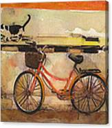 Red Bicycle And Cat Canvas Print