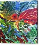 Red Bird In Nest Canvas Print