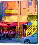 Red Bistro Umbrellas Cafe Cote Soleil Rue St Denis Yellow Staircase Montreal Scenes Carole Spandau Canvas Print