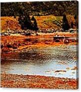 Red Boat At Low Tide Triptych Canvas Print