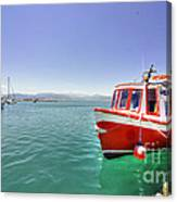 Red Boat At Nafplion Harbour Canvas Print