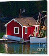 Red Boat House Canvas Print