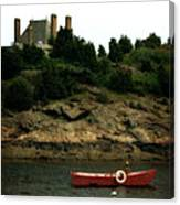Red Boat In Newport Canvas Print