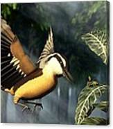 Red Breasted Nuthatch Eating Yellow Jacket Canvas Print