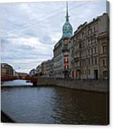 Red Bridge View - St. Petersburg - Russia Canvas Print