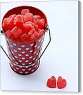 Red Bucket Of Hearts Canvas Print