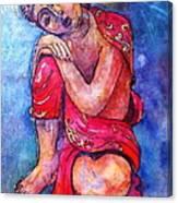 Red Buddha Resting Canvas Print
