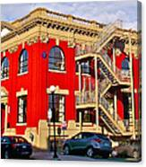 Red Building On Water Street In Saint John's-nl Canvas Print
