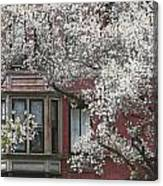 Red Building White Buds Canvas Print
