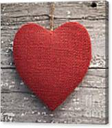 Red Burlap Heart On Vintage Table Canvas Print