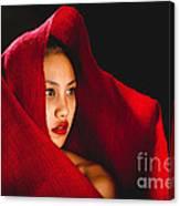 Red Burlap Canvas Print