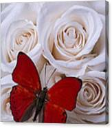 Red Butterfly Among White Roses Canvas Print