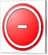 Red  Button Minus Canvas Print