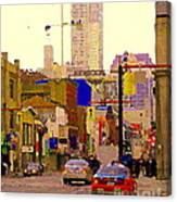 Red Cab On Gerrard Chinatown Morning Toronto City Scape Paintings Canadian Urban Art Carole Spandau Canvas Print