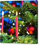 Red Candles In Christmas Tree Canvas Print