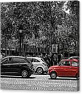 Red Car In Paris Canvas Print