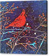 Red Cardinal Bird On Branch Painting Fine Art Print Canvas Print
