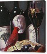 Red Cardinal With Red Wine 2 Canvas Print