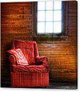 Red Chair In Panelled Room Canvas Print