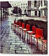 Red Chairs At Mint Plaza Canvas Print