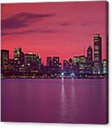 Red Chicago Sunset Canvas Print