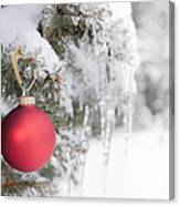 Red Christmas Ornament On Icy Tree Canvas Print