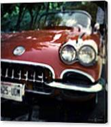 Red Corvette With Trees Canvas Print