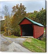 Red Covered Bridge Canvas Print
