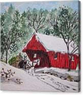 Red Covered Bridge Christmas Canvas Print