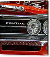 Red Customized Retro Pontiac-front Left Canvas Print