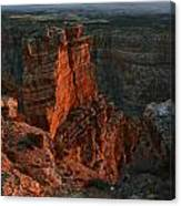 Red Dawn Breaking On Spires In Grand Canyon National Park Vertical Canvas Print