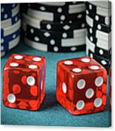 Red Dice And Playing Chips Canvas Print