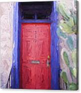 Red Door 317 Tucson Barrio Painterly Effect Canvas Print